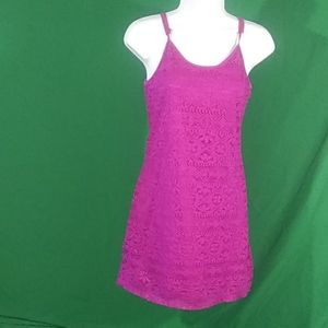 Love fire S lace purple lace sleeveless mini dress